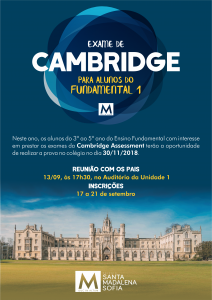 Exame de Cambridge para alunos do Fundamental 1